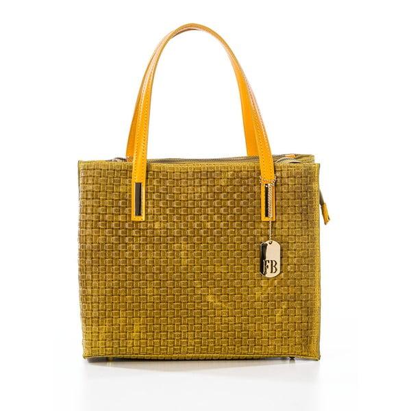 Žlutá kožená kabelka Federica Bassi Matar