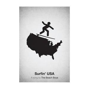 Plakát Surfin' USA, 29,7x42 cm, limitovaná edice