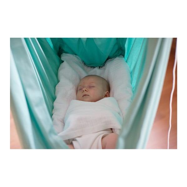 Malá mentolově zelená kolébka z bavlny se zavěšením do dveří Hojdavak Baby, 0-9měsíců