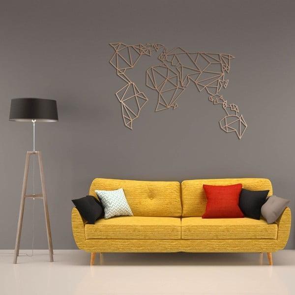 Decorațiune metalică de perete Homemania World, arămiu, 100 x 55 cm