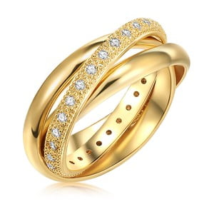Dámský prsten se zirkony ve zlaté barvě Runaway Clarita, vel. M