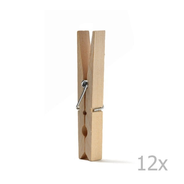 Set 12 cârlige rufe, din lemn, Domopak Living