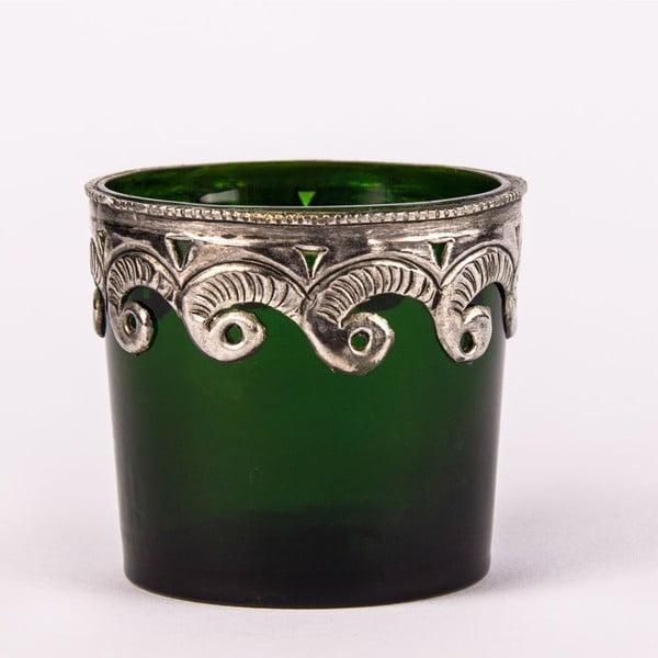 Svícen na čajovou svíčku Zelené sklo