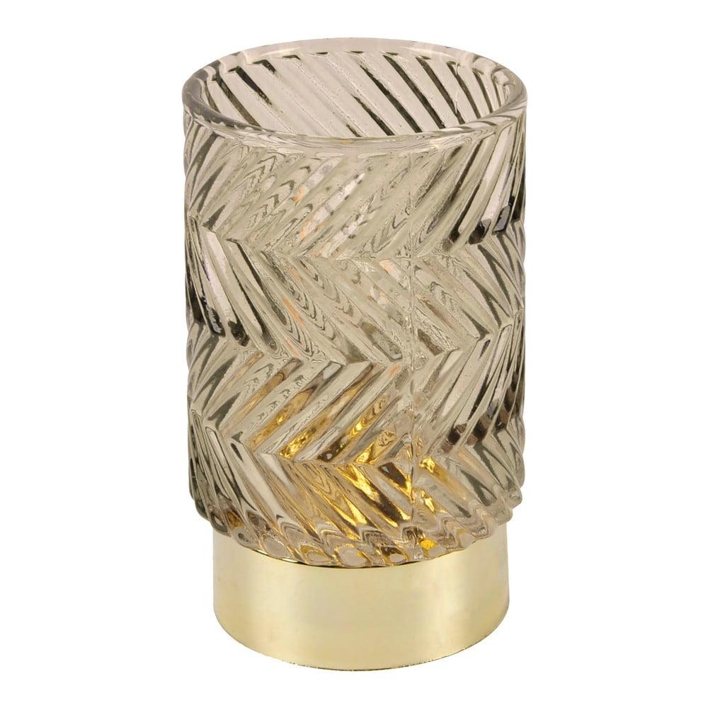 Hnědá LED skleněná stolní lampa PT LIVING Zig Zag