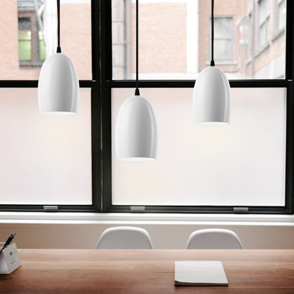 Bílé trojité lesklé stropní svítidlo s černým kabelem Sotto Luce Ume