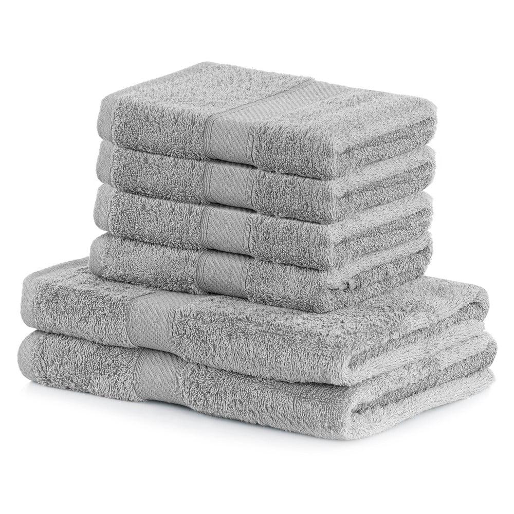 Set 2 šedých osušek a 4 ručníků AmeliaHome Bamby Silver