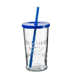 Sada 4 sklenic s modrým víčkem a brčkem SUMMER FUN II, 500ml