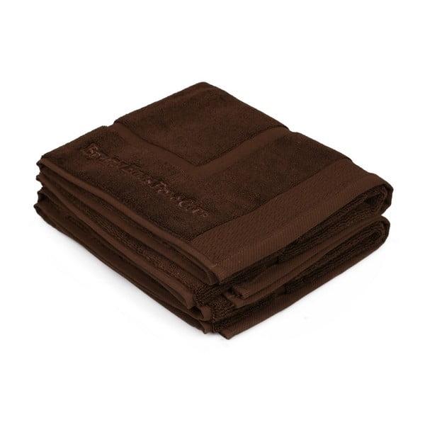 Zestaw dwóch brązowych dywaników łazienkowych z geometrycznym wzorem Beverly Hills Polo Club, 86x50 cm