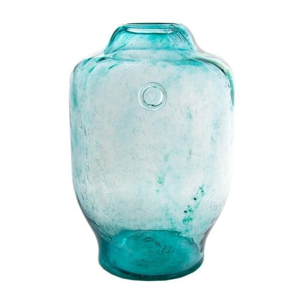 Skleněná váza, tyrkysová