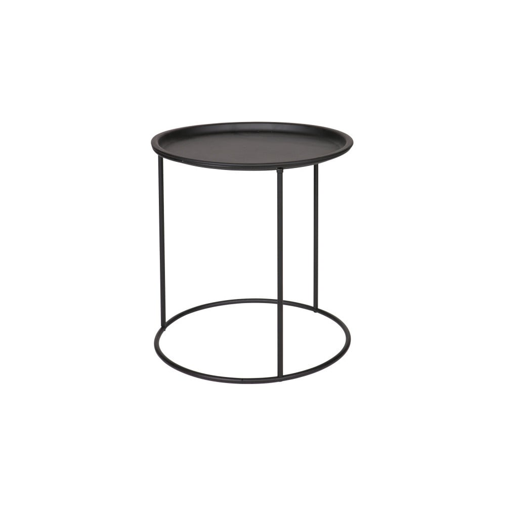 Černý odkládací stolek De Eekhoorn Ivar, Ø 40 cm