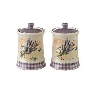Sada 2 kameninových dóz na čaj a kávu Unimasa Lavender