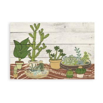 Pictură pe lemn Surdic Tabla Cactus Garden, 40 x 60 cm de la Surdic