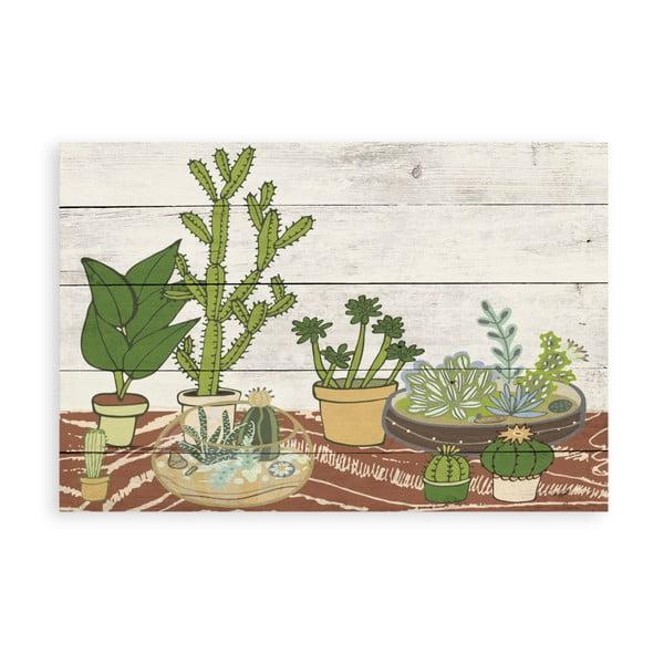 Dřevěná nástěnná dekorativní cedule Surdic Tabla Cactus Garden, 40 x 60 cm