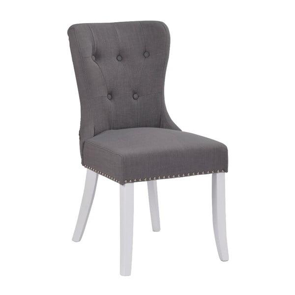 Sivá polstrovaná jedálenská stolička s brezovou konštrukciou Rowico Ina