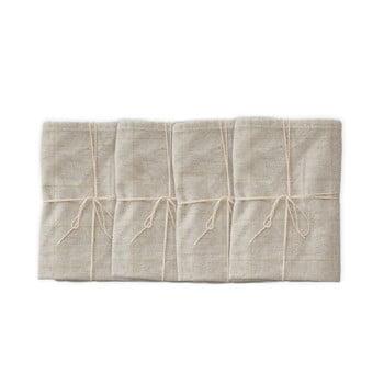 Set 4 șervețele textile Linen Couture Beige Lines, 43 x 43 cm imagine