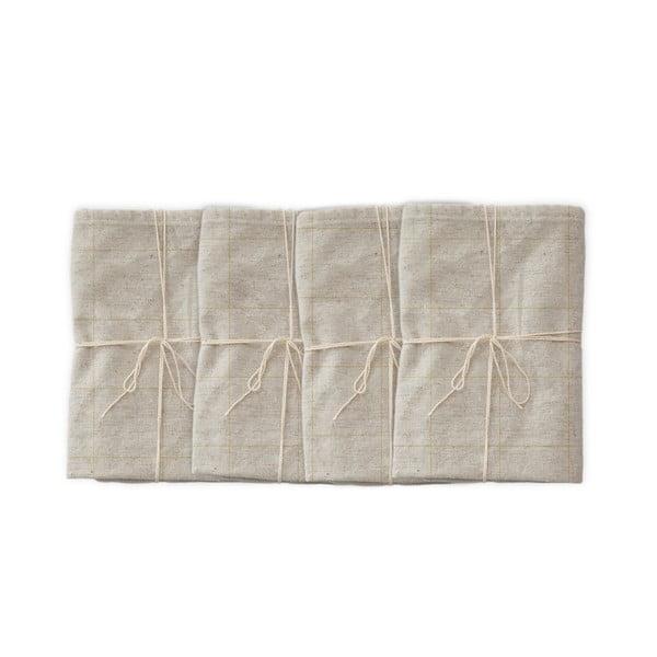 Sada 4 látkových ubrousků s příměsí lnu Linen Couture Beige Lines, 43 x 43 cm