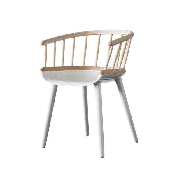 Hnědo-bílá jídelní židle s opěrkou z jasanového dřeva Magis Cyborg