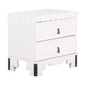 Bílý noční stolek ze dřeva z kaučukovníku SOB Constantin