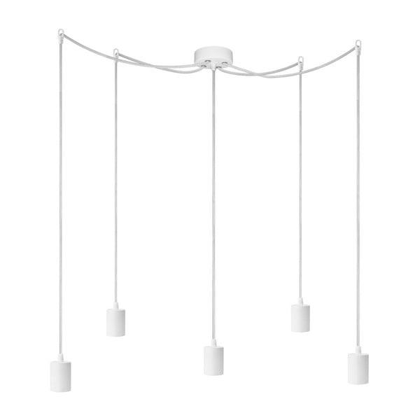Závěsné svítidlo s 5 bílými kabely a bílou objímkou Bulb Attack Cero
