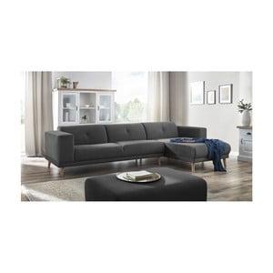 Canapea cu șezlong pe partea dreaptă și suport pentru picioare Bobochic Paris Luna, gri închis
