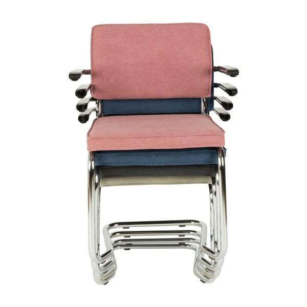 Set 2 scaune cu cotiere Zuiver Ridge Kink Rib, albastru închis