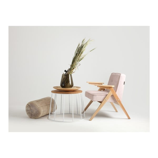 Măsuță de cafea cu blat din lemn de stejar Custom Form Memo, ⌀ 50 cm, alb-natural