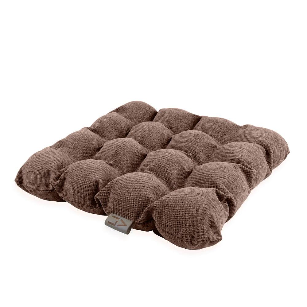 Hnědý sedací polštářek s masážními míčky Linda Vrňáková Bubbles, 45 x 45 cm