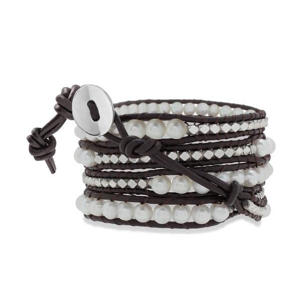 Tmavě hnědý pětiřadý náramek z pravé kůže s perlami Lucie & Jade