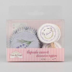 Sada 24 pečicích košíčků na muffiny se zapichovacími ozdobami Dakls Lavender
