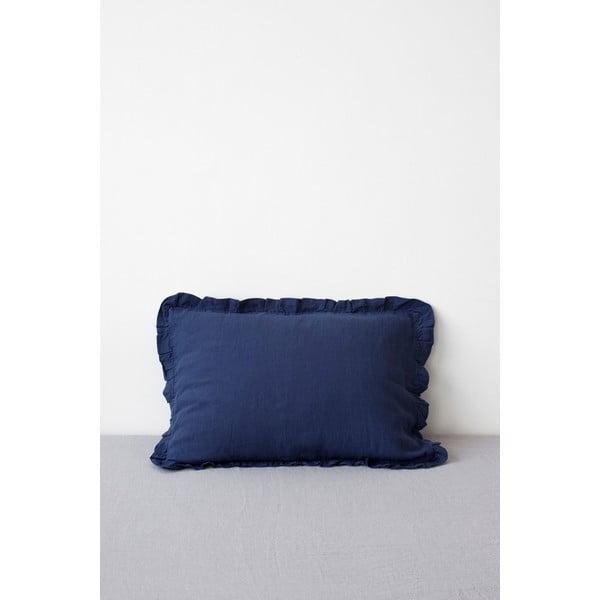 Față de pernă din in cu tiv plisat Linen Tales, 50 x 60 cm, albastru marin