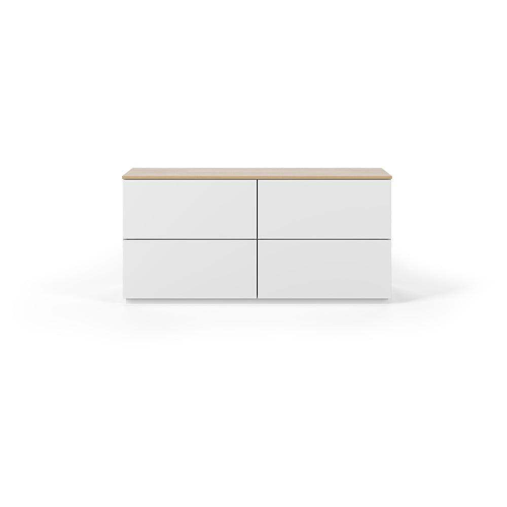 Bílá komoda s deskou v dekoru dubu se 4 zásuvkami TemaHome Join