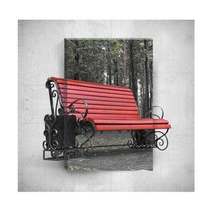 Nástěnný 3D obraz Mosticx Red Bench, 40 x 60 cm
