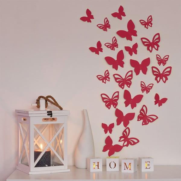Sada 3D motýlků - červená perleť,  24 ks