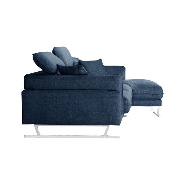 Modrá rohová pohovka s lenoškou na pravé straně L'Officiel Gigi