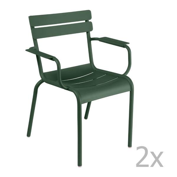 Sada 2 zelených židlí s područkami Fermob Luxembourg