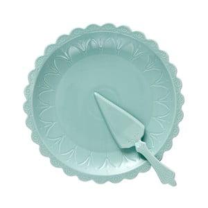 Sada tyrkysového dortového talíře a lopatky Ladelle Bake