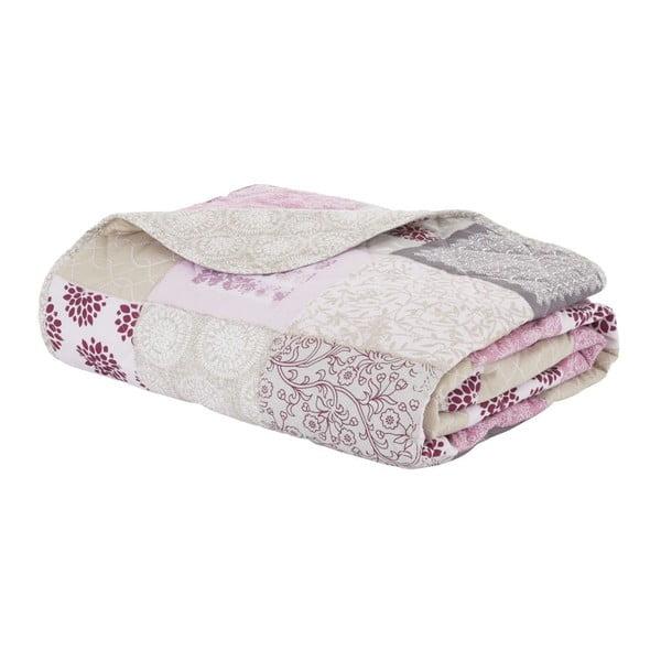 Přehoz přes postel Ethnic Floral Patchwork Berry, 220x230 cm