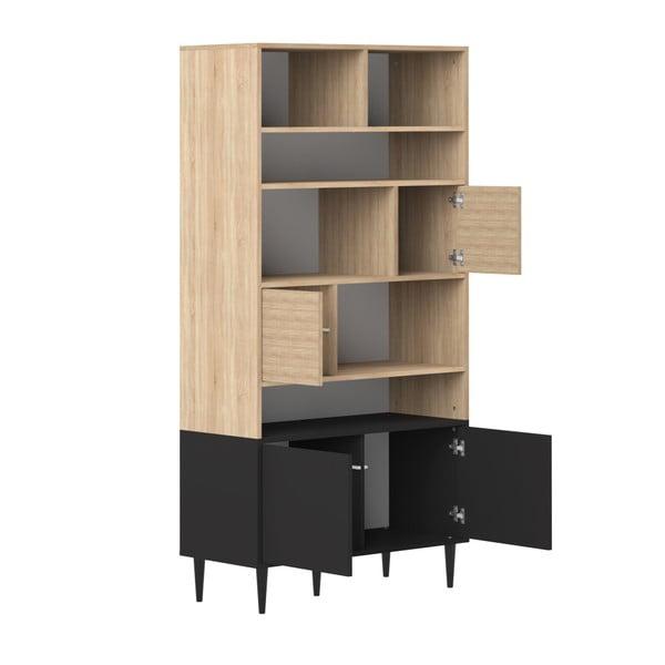 Bibliotecă cu detalii din lemn de stejar Symbiosis Horizon, negru