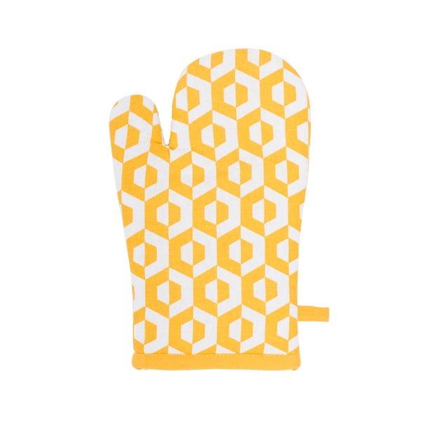 Żółta bawełniana rękawica kuchenna Tiseco Home Studio Hexagon