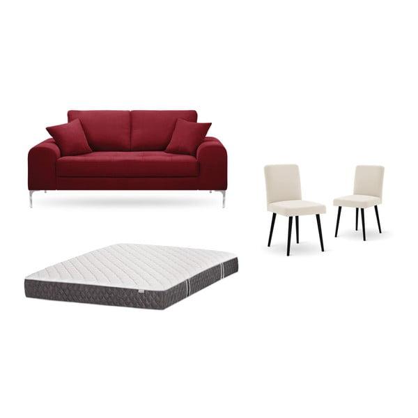 Set canapea roșie, 2 scaune crem, o saltea 140 x 200 cm Home Essentials
