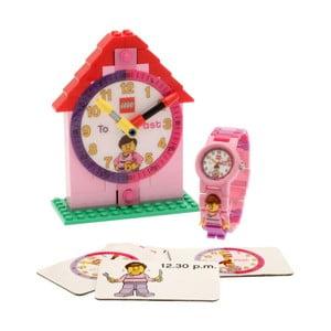 Ceas și piesă didactică LEGO® Time Teacher, roz