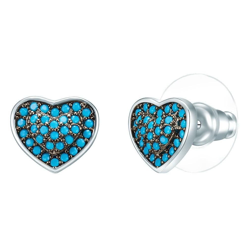 Dámské náušnice ve stříbrné a tyrkysově modré barvě se zirkony Tassioni Water