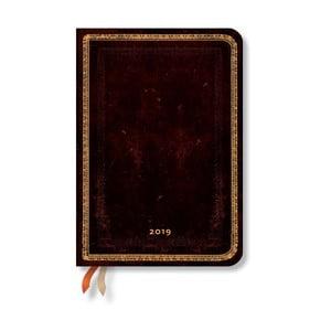 Diář na rok 2019 Paperblanks Black Moroccan Verso,12 x 17 cm