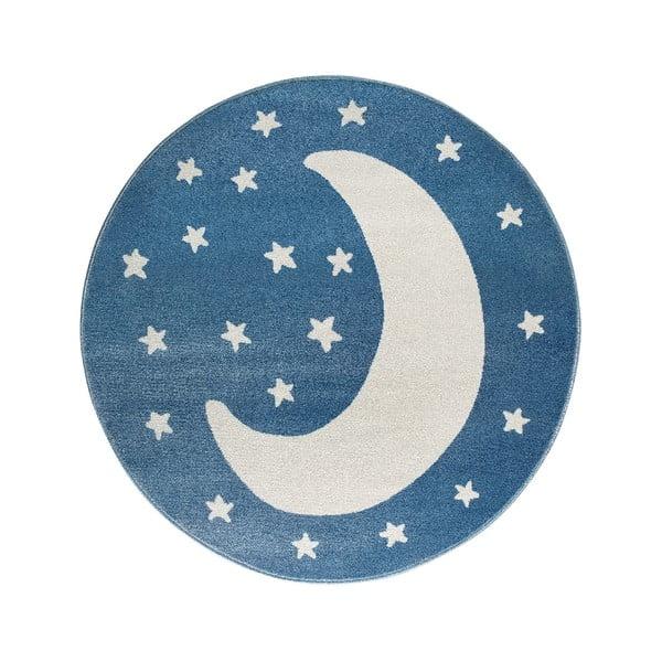 Modrý kulatý koberec s motivem měsíce KICOTI Moon, ø 100 cm