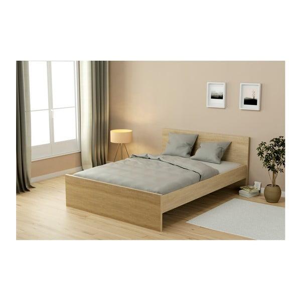 Dvoulůžková postel v dekoru dubového dřeva Parisot Adrienne, 140x200cm