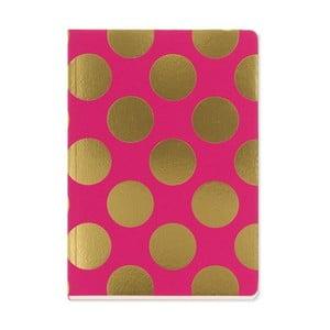 Zápisník A5 Go Stationery Gold Polka Magenta