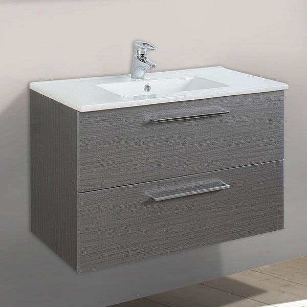 Koupelnová skříňka s umyvadlem a zrcadlem Giro, odstín šedé, 80 cm
