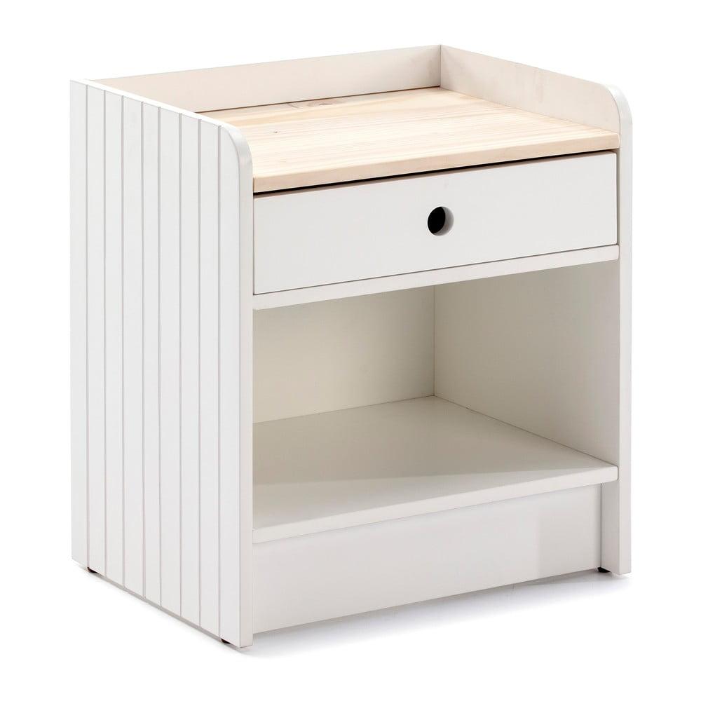 Bílý noční stolek s deskou z borovicového dřeva Marckeric Monte