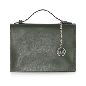 Zeleno-béžová kožená kabelka Mia Tomazzi Orino