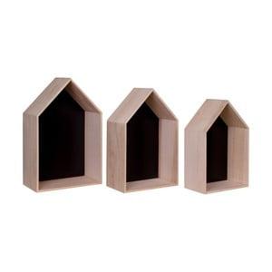Set 3 rafturi de lemn House Nordic Verona, maro